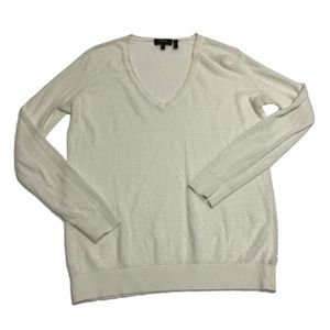 Theory Adrianna V Neck Linen Pullover Sweater Top
